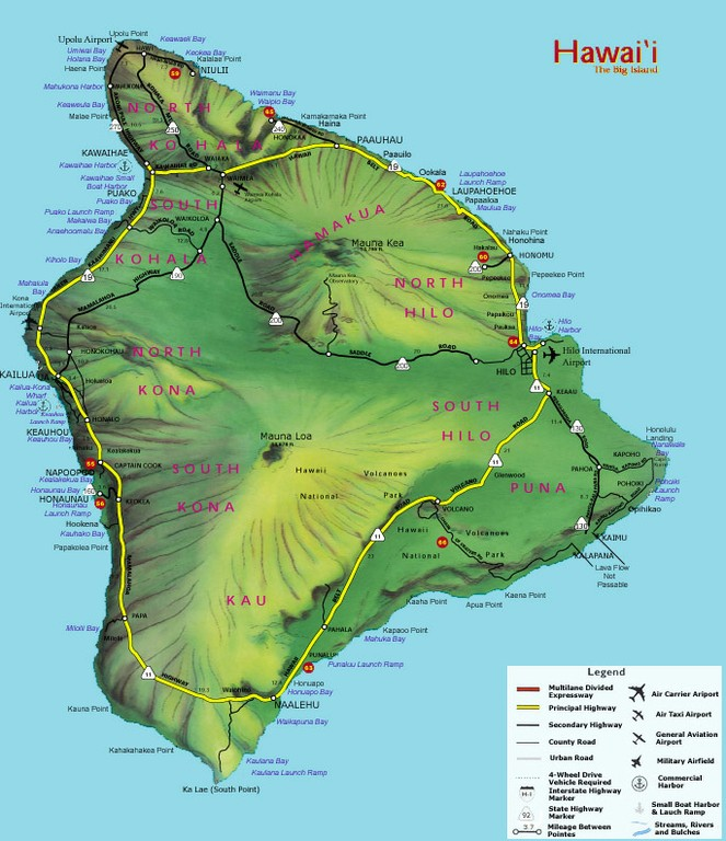 Highways Big Island State Roads And Highways - Hawaii road map