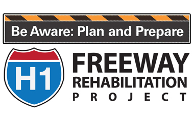 be aware, plan and prepare, freeway rehabilitation project
