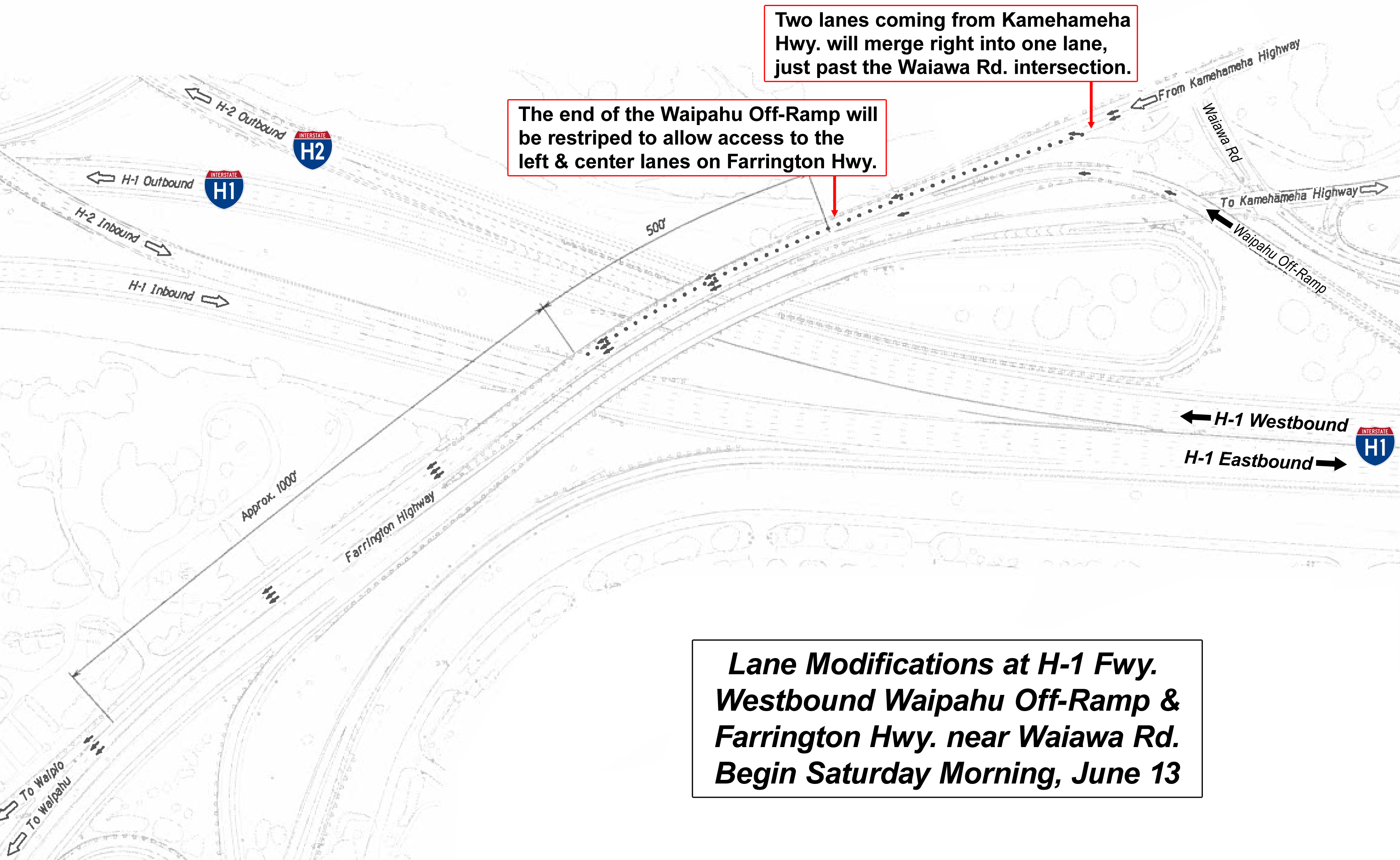 Highways Lane Pattern Modifications At H1 Fwy Westbound Waipahu