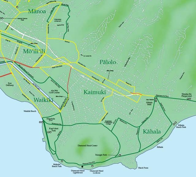 Highways   Bike Map Oahu on north shore oahu map, kakaako oahu map, kilauea oahu map, nuuanu oahu map, bellows beach oahu map, kailua oahu map, koolau range oahu map, kahana bay oahu map, kaanapali oahu map, chinatown oahu map, waikiki beach oahu map, tantalus oahu map, sea life park oahu map, waiahole oahu map, kapiolani oahu map, papakolea oahu map, kapahulu oahu map, maui oahu map, kawela bay oahu map, sandy beach oahu map,