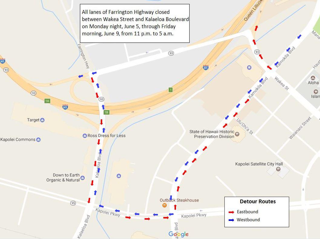 Highways Nightly closure of Farrington Highway in Kapolei begins