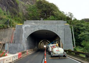 Photo of the new tunnel structure on Pali Highway taken Dec. 19
