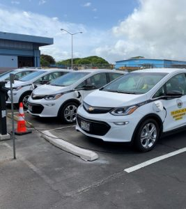 electric vehicles being charged