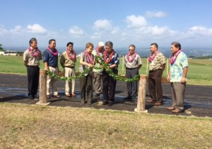Governor David Y. Ige, state officials and dignitaries gather to untie the maile lei