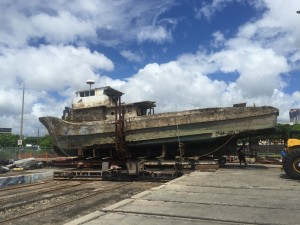 Dry docked at the Marine Shipyard