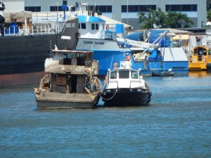 Judy K being towed 4