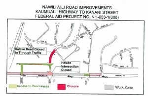 Map of closures and detours