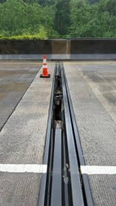 Damage to the steel expansion joint on the H-3 Freeway