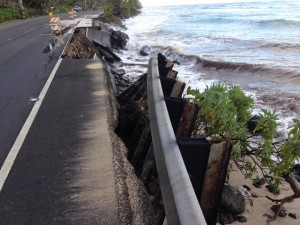 Kamehameha Highway and guardrail damage