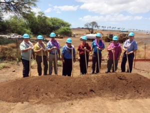 State officials break ground at Kahului Airport signifying the start of construction for the new consolidated rental car facility. From left to right: Marvin Moniz, Kahului Airport Manager; Ross Higashi, HDOT Airports Division Deputy Director; Representative Justin Woodson; Mayor Alan Arakawa; Governor David Ige; Senator Kalani English; Senator Gilbert Keith-Agaran. Gerry Majkut, President of Hawaiian Dredging Construction Company.