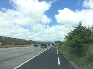 Dashed lines mark the beginning of the H-1 Freeway eastbound shaoulder lane located after the Kualakai Parkway on-ramp.