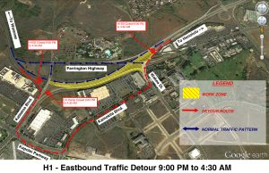 Detour map for the H-1 Freeway eastbound closures