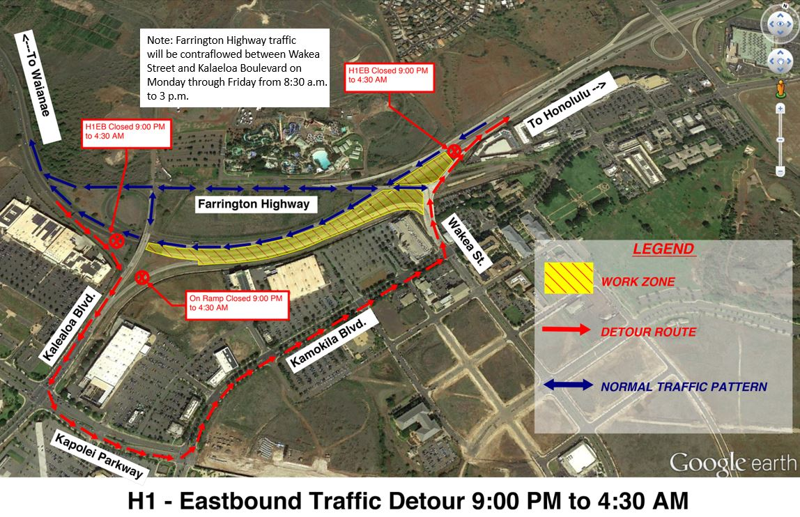 Department of Transportation | Eastbound H-1 Freeway closure