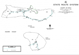 Molokai and Lanai outlines with State Routes