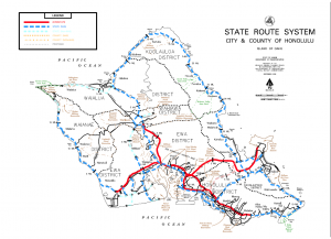 Oahu District Map with State Routes